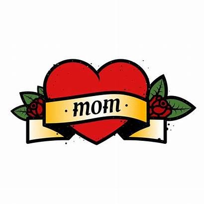 Mom Heart Tattoo Text Vector Mother Roses