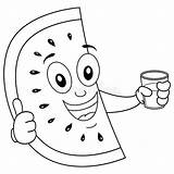 Watermelon Coloring Juice Cartoon Squeezed Anguria Coloritura Watermeloen Sap Gedrukt Exprimido Slice Wassermelone Face Kleurende Succo Schiacciato Cool Character Fresh sketch template