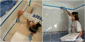 How to refinish outdated tile yes i painted my shower for Steps to painting a bathroom