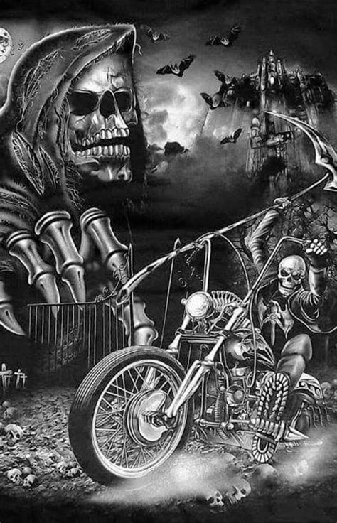 PRETTY WILD, 💀🐺👀🔧 | Skull art, Harley tattoos, Skeleton art