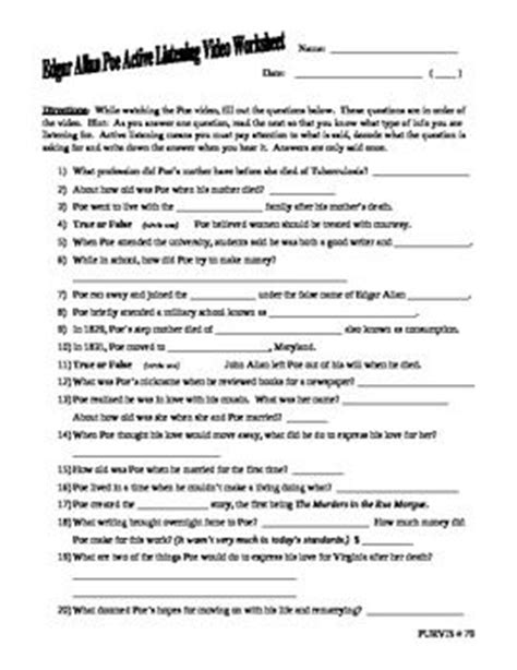 active listening worksheets and edgar allan poe on