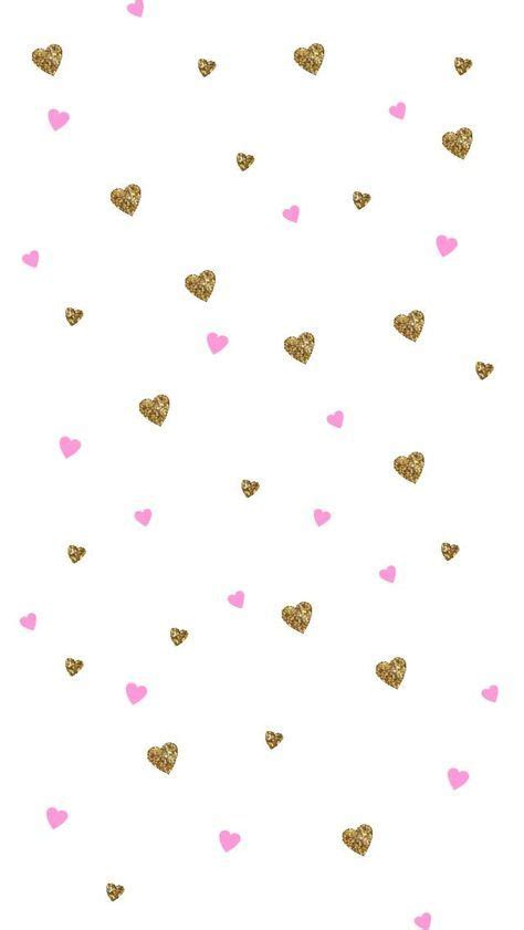 Screen Lock Screen Gold Pink Wallpaper Iphone by White Pink Gold Ditsy Hearts Iphone Phone Wallpaper