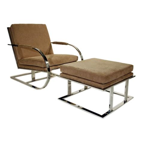 milo baughman chrome lounge chair and ottoman