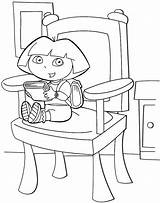 Chair Coloring Sitting Dora Sheet Mitraland sketch template