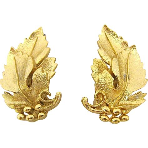Pair of Lisner Gold Leaf Clip Earrings from ...