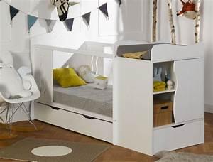 Lit Enfant Combiné : lit combin volutif b b belem blanc chambrekids ~ Farleysfitness.com Idées de Décoration