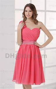 Cute collection of chic one shoulder short pink bridesmaid for Short pink wedding dresses