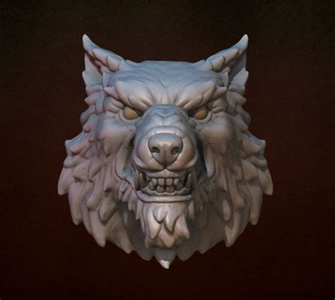 wolf head  printable model cgtrader