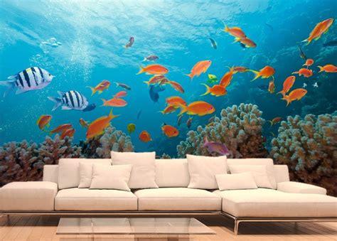 chambre h es poissons exotiques et coraux papier peint fonds marins