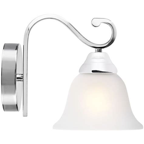 chrome plated wall light with white frosted glass shade