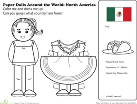mexican paper doll worksheet education