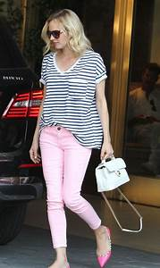 Outfits With Light Pink Shorts Diane Kruger In Pink Current Elliot Ankle Jeans Denimology