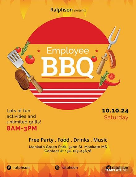employee bbq party flyer template