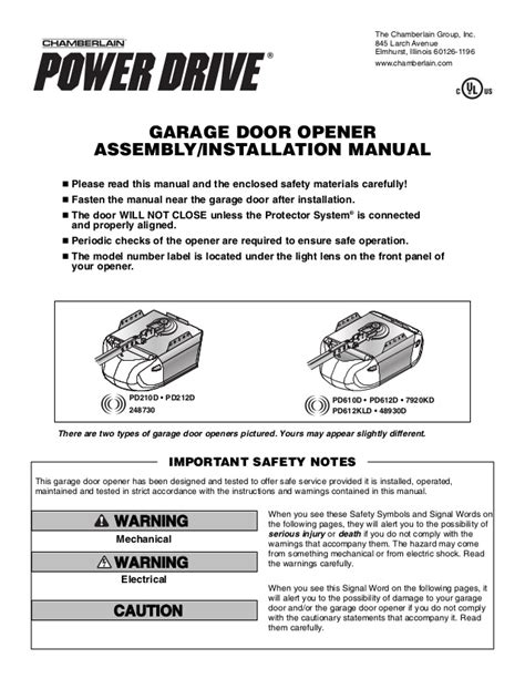 Chamberlain Garage Door Opener Whisper Drive Manual by Chamberlain Garage Door Opener Manual