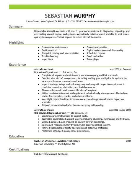 Mechanic Resume Summary by Best Aircraft Mechanic Resume Exle Livecareer