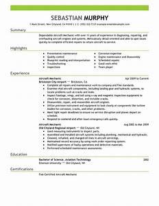 best aircraft mechanic resume example livecareer With aircraft mechanic resume template