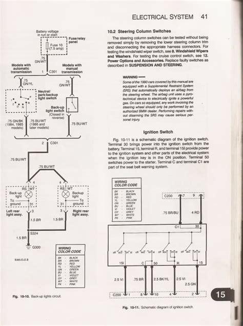 e30 ignition switch circuit car maintenance diagram