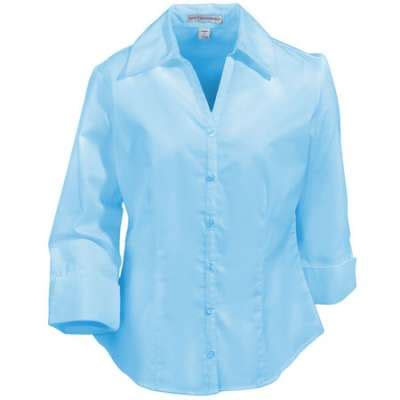 light blue sleeve shirt womens port authority shirts womens 3 4 sleeve open neck blouse