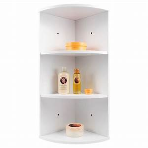WHIITE WOODEN 3 TIER CORNER WALL MOUNTED BATHROOM STORAGE ...