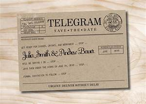 vintage telegram save the date wedding invitation With wedding invitations print company