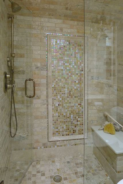 limestone  glass tile bathroom traditional bathroom
