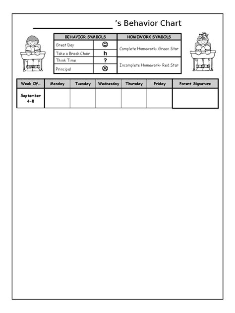 behavior charts   templates   word excel