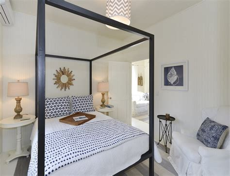 Small Bedroom With Bed by Small Cottage With Coastal White Interiors Home Bunch