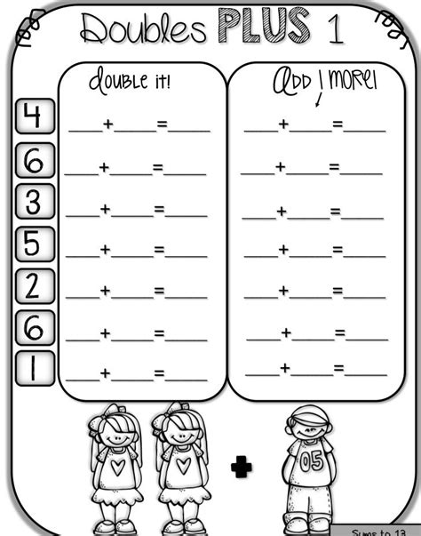 Doubles Plus One Math Facts Worksheets  First Grade Doubles Plus One Activities Worksheets For