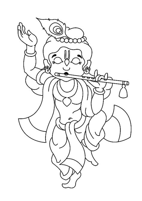 krishna dancing  playing flute coloring pages