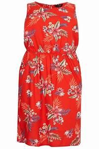Red Tropical Floral Pocket Skater Dress Sizes 16 To 36