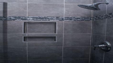 gray mosaic wall trim accent bathroom tile ideas