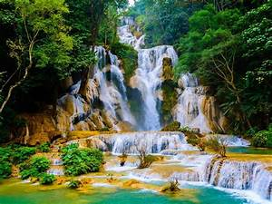 Kuang, Si, Falls, Cascading, Waterfall, In, Laos, Known, As, Wat, Kuang, Si, Waterfalls, Picturesque