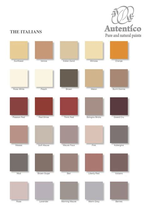 the italians colour chart by autentico chalk paint see our website for details and workshops
