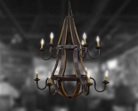 Two Tier Chandelier 12 light two tier chandelier bourbon barrel furniture