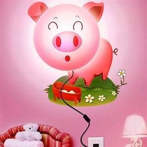 Buy DIY Sticker Wall Lamp Cartoon Pink Pig LED 3D Night ...