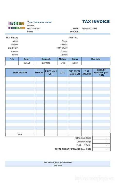 australian gst invoice template