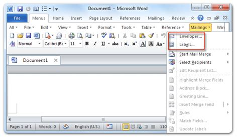 where are the envelopes and labels in microsoft word 2007 2010 2013 2016 2019 and 365