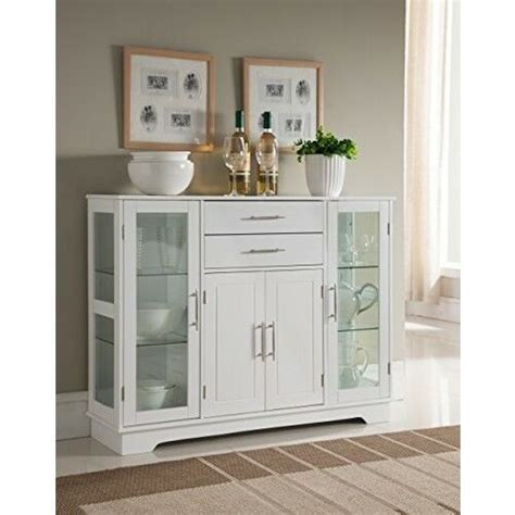 White Glass Sideboard by Kitchen Buffet Cabinet With Glass Doors China Display