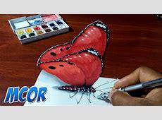 Dibujando una Mariposa Roja en 3D YouTube