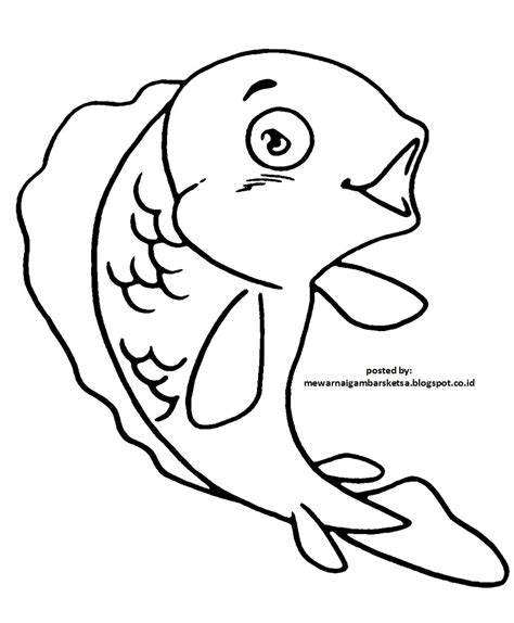 mewarnai gambar mewarnai gambar sketsa hewan ikan 1