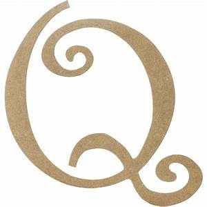 """14"""" Decorative Wooden Curly Letter: Q [AB2161"""