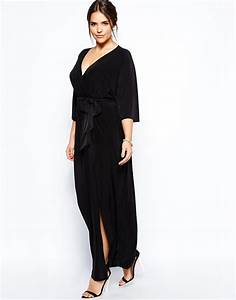 lyst asos kimono maxi dress with wrap in black With robe longue reveillon