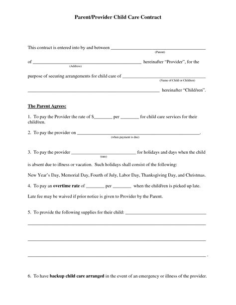 home daycare forms printable daycare contract agreement new 8 best of home day care