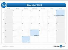 December 2019 Calendar Template calendar for 2019