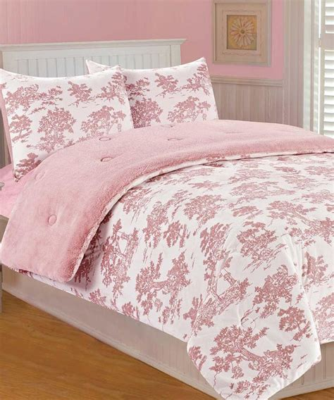 pink toile bedding pink toile microplush bedding set