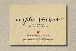 Simple wedding shower invitation couples with heart for Wedding shower for couples
