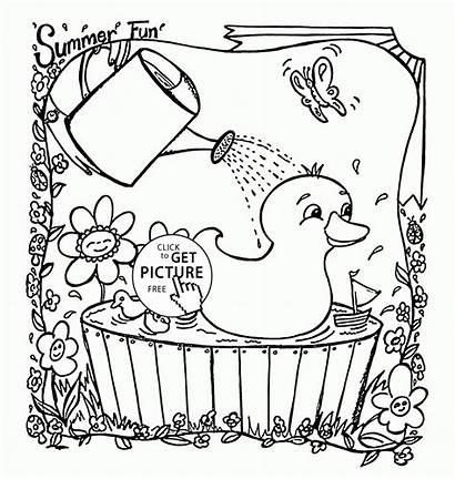 Coloring Summer Pages Printables Preschool Ducks Printable