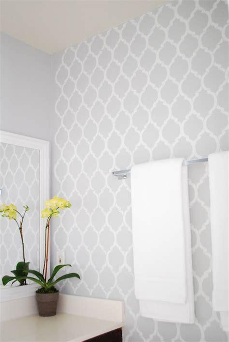 Royal Blue Bathroom Wall Decor by Quatrefoil Wall Stencil Contemporary Bathroom