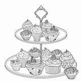 British Cake Food Coloriage Coloring Pages Cupcake Adult Books Popham Harriet Cooking Amazon Printable Craft Sheets sketch template