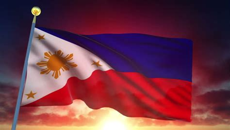 philippines flag  sunset stock footage video
